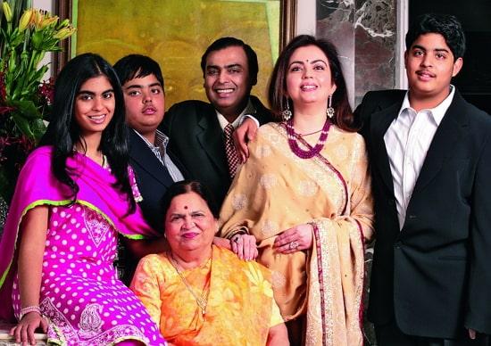 akash ambani family